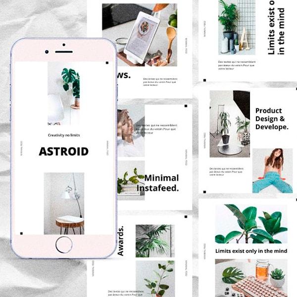 Astroid Mnml Plantilla IG Post y Stories