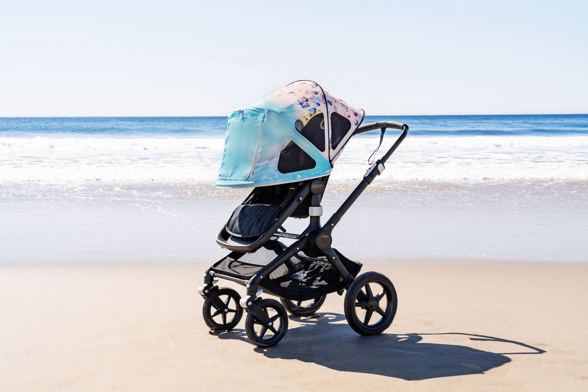 limited edition Bugaboo by Gray Malin Sun Canopy and lynx stroller