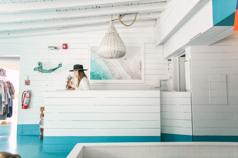 Lobby of the Surf Lodge with Gray Malin artwork