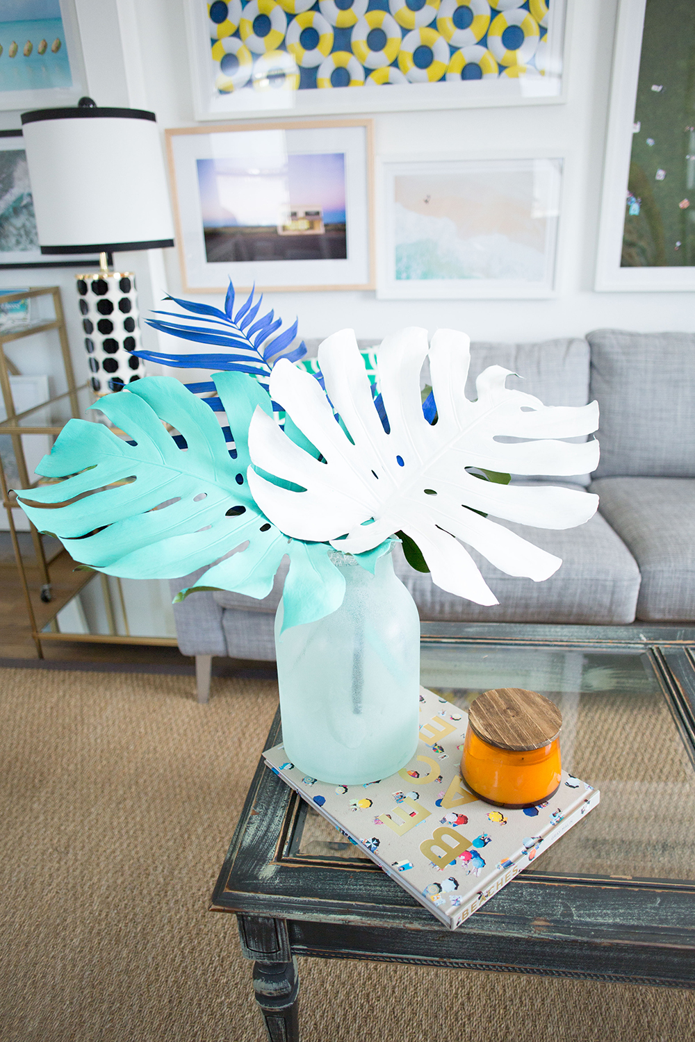 How to Decorate with Palm Leaves: Painted and Potted