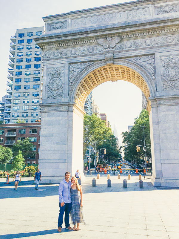Gray Malin's Marry Me? - Washington Square Park image plays a special role in this couple's engagement story