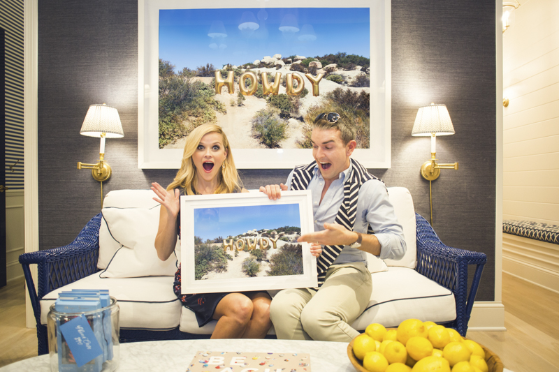 Gray Malin and Reese Witherspoon with HOWDY at the opening of Draper James in Dallas