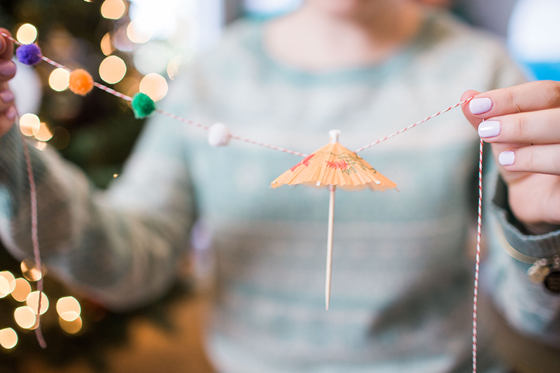 How to DIY your own umbrella pom pom garland for your Christmas tree