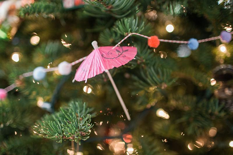 DIY Umbrella Pom Pom Holiday Garland