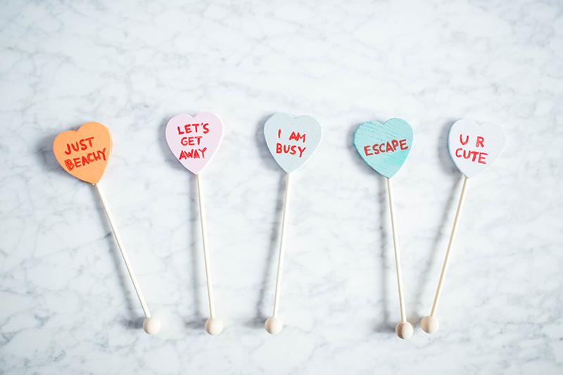DIY Conversation Heart Drink Stirrers | Gray Malin