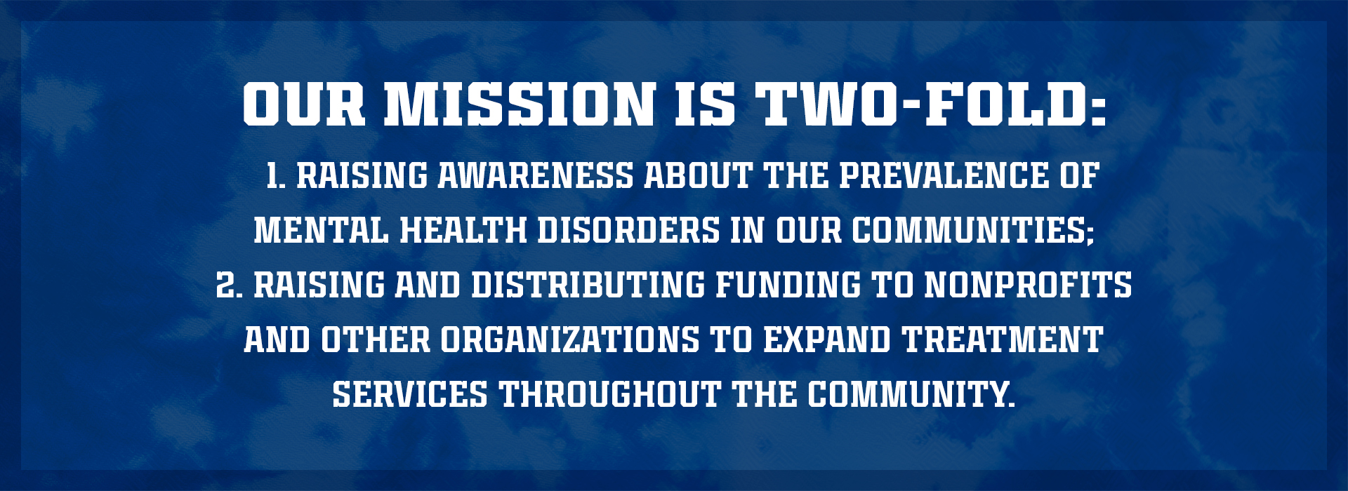 Our missions is two-fold: 1. Raising awareness about the prevalence of mental health disorders in our communities; 1. Raising and distributing funding to nonprofits and other organizations to expand treatment services throughout the community.