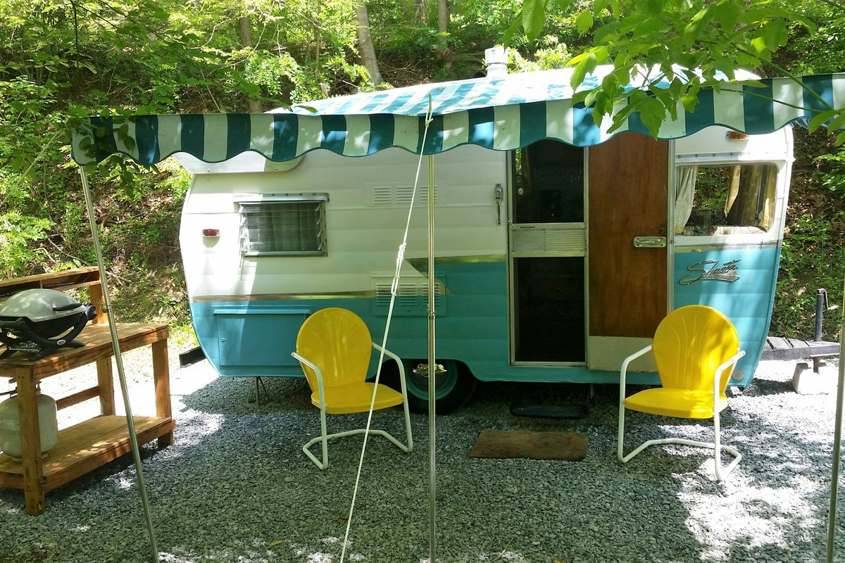 camping setup for an rv or trailer at the greenbrier river campground