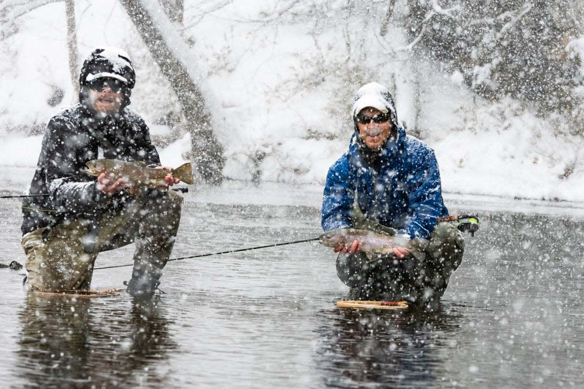 winter trout fishing with otters guide service