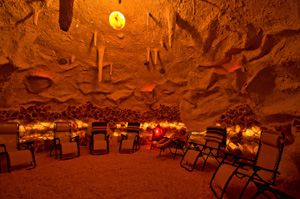 inside of the salt cave and spa