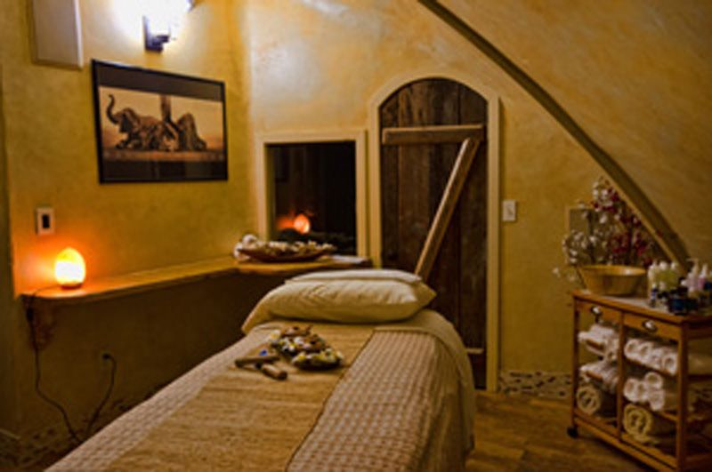 massage room at the salt cave and spa