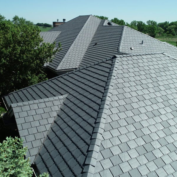 Ecostar Majestic Niagara Slate Hip And Ridge Tiles Eco Friendly Durable Recycled Rubber Roofing Tiles