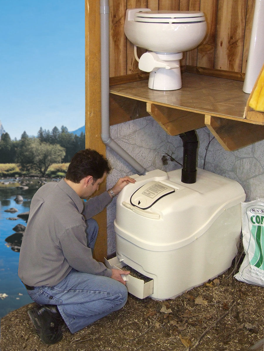 Sun mar composting toilet central flush system odor for Cabin septic systems