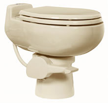 Sun-Mar, Composting Toilet, Central Flush System, 1-Pint Flush Toilet, Sealand 510+, Bone