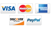 Paypal, Visa, Mastercard, and Discover accepted