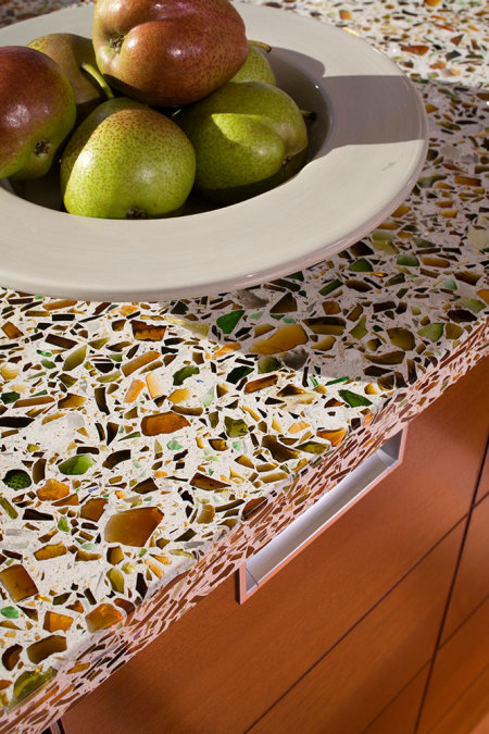 Vetrazzo Recycled Glass Alehouse Amber Countertop Detail