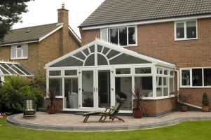 Conservatory with decorative arched gable-end