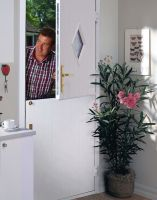 White stable door with diamond glass-panel