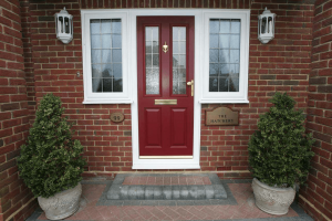 Red composite door with double glass-panel