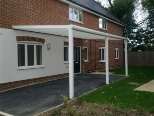 Supported White Carport