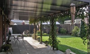 Supported Large Brown Garden Canopy