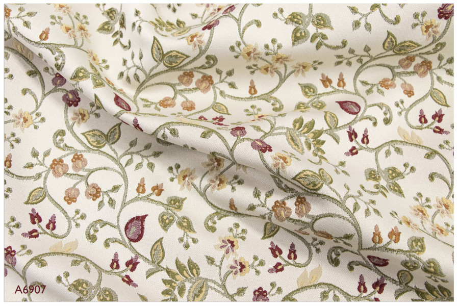 Large All Over Floral Damask Beige Colour Chenille Jacquard Upholstery Fabrics