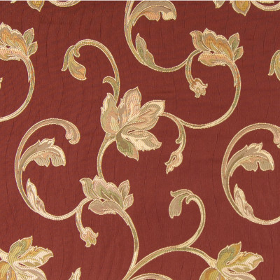 204720 Brick Fabric: FLORAL MATELASSES, JACQUARD, LARGE SCALE FLORAL, BRICK RED