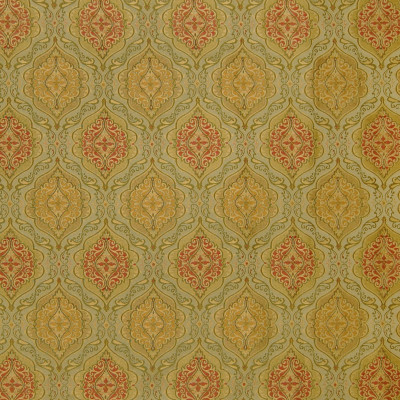 A4903 Celadon Fabric: D50, B72, C32, SHIELD, DAMASK, GREEN, RED, YELLOW