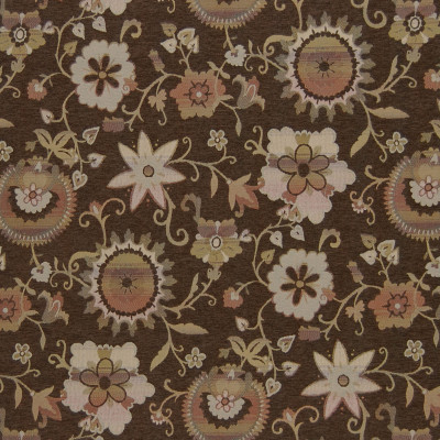 A6483 Chocolate Fabric: C01, CHOCOLATE, FLORAL, CHENILLE, BROWN, RED, ORANGE