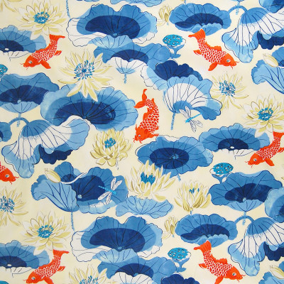 A7775 Porcelain Fabric: C41, FLORAL FABRIC, FLORAL FABRICS, DRAPERY FABRIC, PRINT FABRIC, PRINT FABRICS, DRAPERY FABRICS, ANIMAL PRINT, FISH, FISH FABRIC, ANIMAL FABRIC, CHINTZ, CHINTZ FINISH, CHINTZ FABRIC, WAVERLY