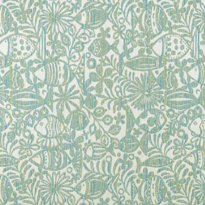 A8044 Isle Waters Fabric: D79, C30, OUTDOOR, OUTDOOR FABRICS, ISLE WATERS, PASTEL, PASTELS, BLUE GREEN SEASCAPE, BLUE GREEN FISH, ISLAND FISH, TROPICAL FISH