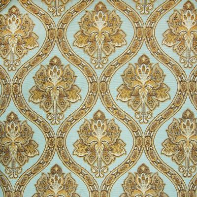 A8114 Mist Fabric: D50, C32, DAMASK, FLORAL, OGEE, MEDALLION, LATTICE, TEAL, BLUE, GOLD