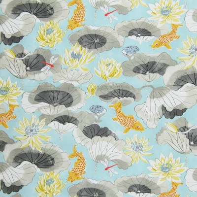 A8416 Pool Fabric: C41, FLORAL FABRIC, FLORAL FABRICS, DRAPERY FABRIC, PRINT FABRIC, PRINT FABRICS, DRAPERY FABRICS, ANIMAL PRINT, FISH FABRIC, ANIMAL FABRIC, FISH, CHINTZ, CHINTZ FABRIC, CHINTZ FINISH, WAVERLY