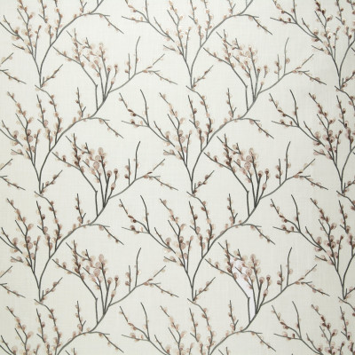 A8700 Olive Fabric: C48, EMBROIDERY, LINEN, BEIGE, BRANCH, ASIAN, PUSSY WILLOW