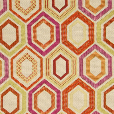 A9766 Fiesta Fabric: C72, ORANGE HONEYCOMB, PINK HONEYCOMB, ORANGE GEOMETRIC, PINK GEOMETRIC, GOLD GEOMETRIC, NEUTRAL GEOMETRIC BACKGROUND, ORANGE MEDALLION, PINK MEDALLION,WOVEN