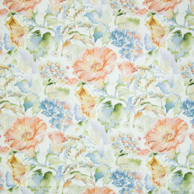 B2298 Honeysuckle Fabric: D01, GREEN FLORAL, GREEN FLORAL PRINT, GREEN FLORAL WATERCOLOR, WATERCOLOR PRINT,
