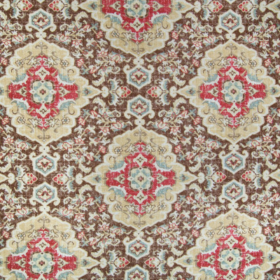 B2322 Moroccan Red Fabric: D02, BROWN MEDALLION, CHOCOLATE MEDALLION PRINT, BROWN MEDALLION PRINT