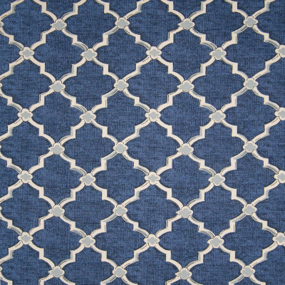 B3340 Denim Fabric: D18, BLUE MEDALLION PRINT, BLUE LATTICE PRINT, BLUE GEOMETRIC PRINT
