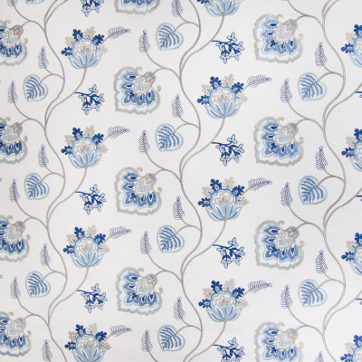 B3343 Marine Fabric: D18, BLUE FLORAL EMBROIDERY, MEDIUM BLUE FLORAL EMBROIDERY