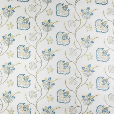 B3381 Aqua Fabric: D18, FLORAL EMBROIDERY, BLUE FLORAL EMBROIDERY, SPA BLUE FLORAL EMBROIDERY, LIGHT BLUE FLORAL EMBROIDERY