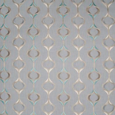 B3385 Mermaid Fabric: D18, BLUE MEDALLION, BLUE METALLIC MEDALLION EMBROIDERY