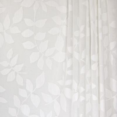 B4382 Natural Fabric: D41, WHITE LEAF SHEER, WHITE LEAVES, FLORAL SHEER, VINE SHEER, INHERENTLY FLAME RETARDANT, FIRE RETARDANT,WOVEN