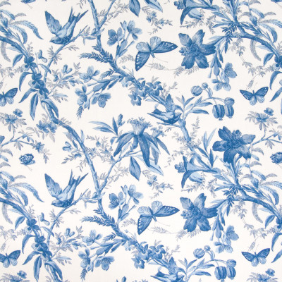 B4945 Cornflower Fabric: D67, D47, BIRD, ANIMAL, BUTTERFLY, FLORAL, JACOBEAN PRINT, BLUE AND WHITE FLORAL PRINT, BLUE AND WHITE ANIMAL PRINT, MADE IN USA, 100% COTTON,FOLIAGE