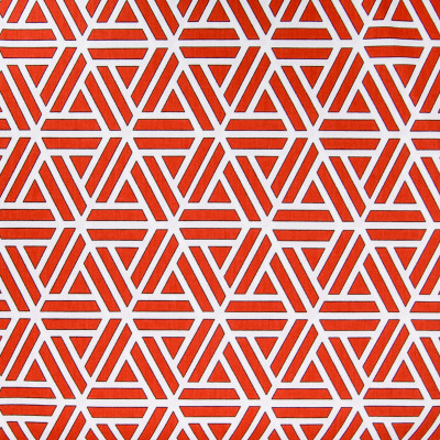 B5011 Tomato Fabric: D48, 100% COTTON, COTTON, RED WHITE AND BLACK, RED AND WHITE GEOMETRIC, CONTMEPORARY PRINT,LATTICE