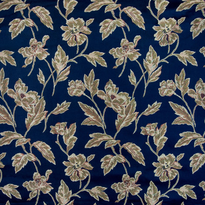 B5329 Marine Fabric: D50, LARGE SCALE FLORAL, FLORAL, NAVY, DARK BLUE DAMASK FLORAL,FOLIAGE