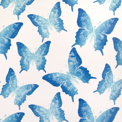 B5461 Turquoise Fabric: OUTDOOR, MADE IN USA, SWALLOWTAIL, BUTTERFLY, BLUE, BLUE BUTTERFLIES, BLUE BUTTERFLY PATTERN, BLUE BUTTERFLY PRINT, OUTDOOR BUTTERFLY PRINT,  WHITE AND BLUE, WHITE AND TEAL, TEAL, TURQUOISE, LIGHTFASTNESS, LARGE SCALE