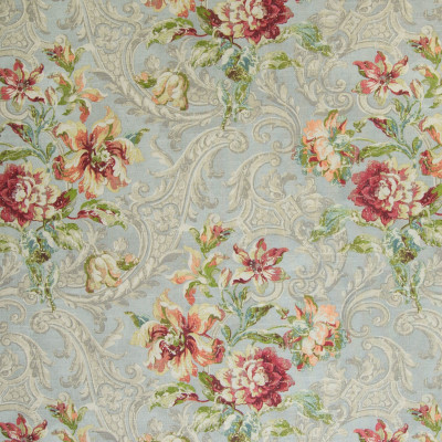 B5472 Jewel Fabric: RED, PEACH, FLOWERS, FLORAL, MEDALLION, MADE IN USA, SCROLL, LATTICE, DAMASK, FOLIAGE, PLANT, FLORAL, PRINT, FLORAL PATTERN, WOVEN, JEWEL TONES, LARGE SCALE