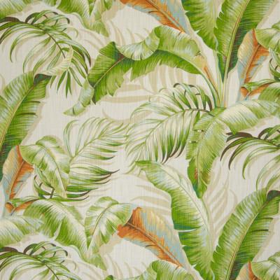 B5474 Sunsplash Fabric: TROPICAL, PALMS, LINEN LOOK, BEIGE, ORANGE, RUST, GREEN, NATURAL, BEACH, MIAMI BEACH, HAWAII, MADE IN USA, BANANA LEAF, BANANA LEAVES, LARGE SCALE PRINT, LARGE SCALE PATTERN, COSTAL,WOVEN