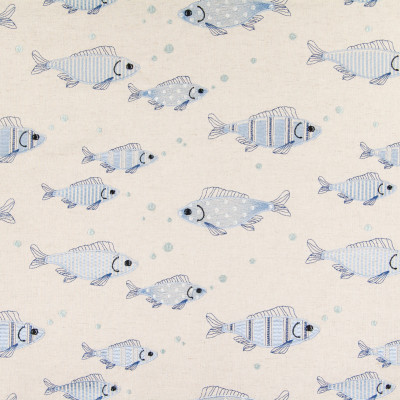 B5479 Blue Fabric: FISH, BLUE, CABIN, BEACH, LODGE, BOY, CHILD, YOUTH, EMBROIDERED FISH, FISH EMBROIDERY, UNDERWATER, BUBBLES, LIGHT BLUE, BABY BLUE, LINEN LOOK, FAUX LINEN, COTTON EMBROIDERY, COSTAL, OCEAN, STRIPE,WOVEN