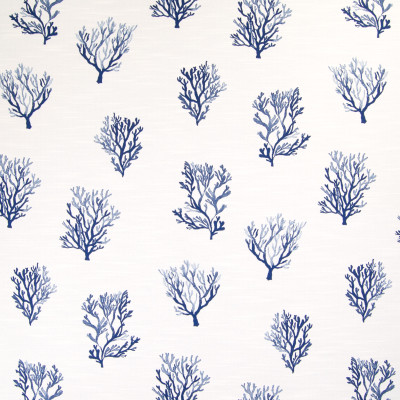 B5480 Delft Fabric: CORAL, OCEAN, REEF, BEACH, BLUE, BLUE AND WHITE, NAUTICAL, COSTAL, PLANT, TROPICAL PATTERN, NAVY,WOVEN