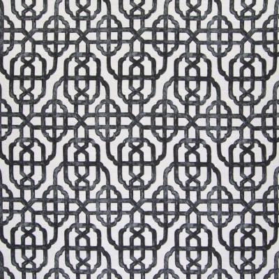 B6006 Charcoal Fabric: D62, BLACK GEOMETRIC, BLACK LATTICE,WOVEN